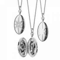 Monica_Rich_Kosann_Sterling_Silver_Oval_Star-Set_Locket_With_White_Sapphire_Accents,_32""