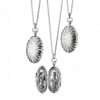 Monica_Rich_Kosann_Sterling_Silver_Oval_Sunburst_Locket_with_White_Sapphire_Accents,_32""