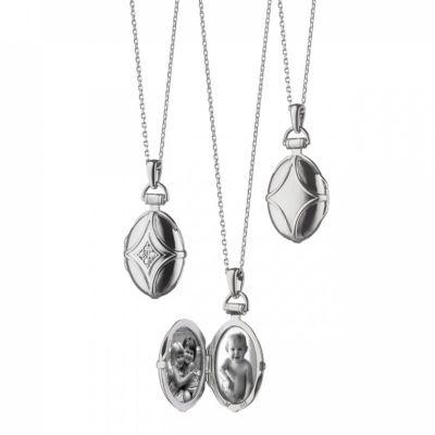 Monica Rich Kosann Sterling Silver White Sapphire Petite Domed Bridle Locket