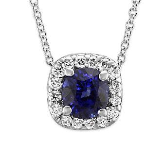 18K White Gold Sapphire and Diamond Halo Pendant