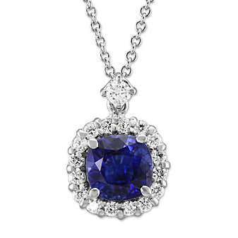 18K White Gold Round Sapphire and Round Diamond Pendant
