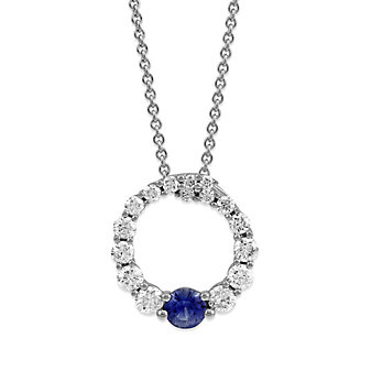 14K White Gold Sapphire and Diamond Circle Pendant
