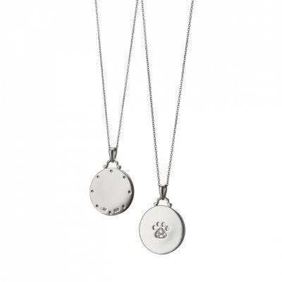 Monica Rich Kosann Sterling Silver and White Sapphire Paw Print Pendant