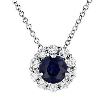 18k white gold round sapphire & diamond halo pendant