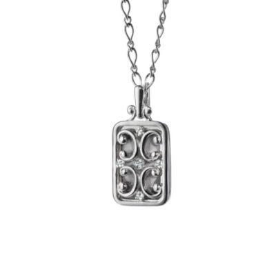Monica Rich Kosann Sterling Silver Rectangular Gate Locket Necklace