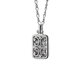 Monica Rich Kosann Sterling Silver Rectangular Gate Locket Necklace