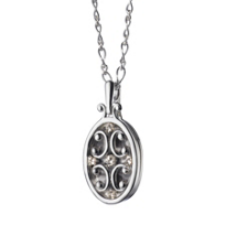 Monica_Rich_Kosann_Sterling_Silver_Oval_Gate_Locket_Necklace_with_White_Sapphires,_18""