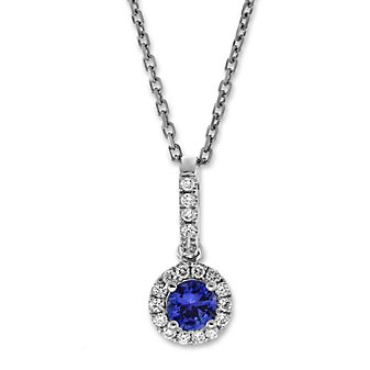 14K White Gold Sapphire and Round Diamond Halo Pendant