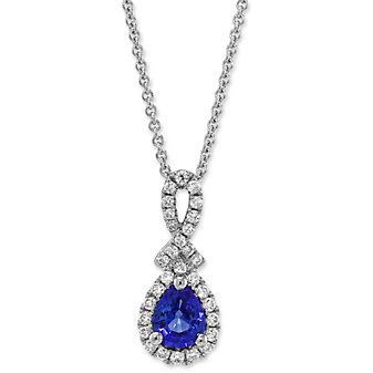 14K White Gold Pear Shape Sapphire and Round Diamond Pendant
