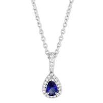 14K_White_Gold_Pear_Shape_Sapphire_&_Round_Diamond_Pendant,_18""