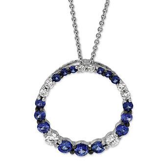 14K White Gold Sapphire and Diamond Circle Pendant
