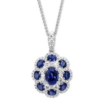 14K_White_Gold_Oval_Sapphire_and_Round_Diamond_Flower_Pendant,_18""