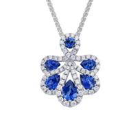 14K_White_Gold_Pear_&_Round_Sapphire_&_Diamond_Pendant,_0.26cttw