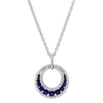 14K_White_Gold_Round_Sapphire_&_Diamond_Circle_Pendant