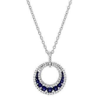 14K White Gold Round Sapphire & Diamond Circle Pendant