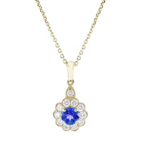 "14k_yellow_gold_round_sapphire_and_diamond_flower_pendant,_18"""