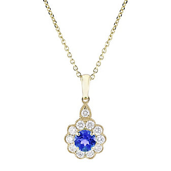 14k yellow gold round sapphire and diamond flower pendant, 18""