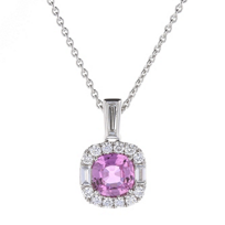 18k_white_gold_cushion_pink_sapphire_halo_pendant_with_diamond_baguettes,_17""