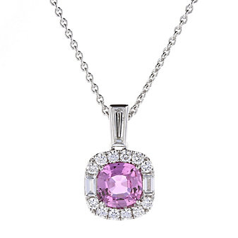 18k white gold cushion pink sapphire halo pendant with diamond baguettes, 17""