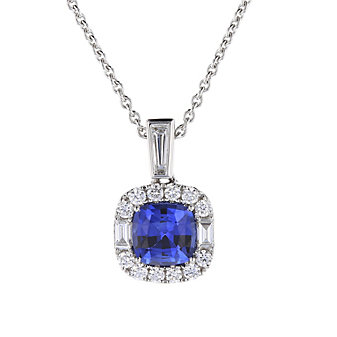 18k white gold cushion sapphire halo pendant with diamond baguettes, 17""