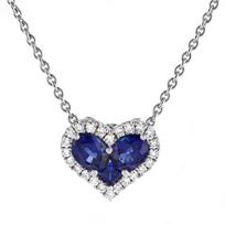 "18k_white_gold_sapphire_heart_shaped_pendant_with_diamond_halo,_17"""