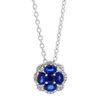 """14k_white_gold_sapphire_&_diamond_flower_pendant,_18"""""""