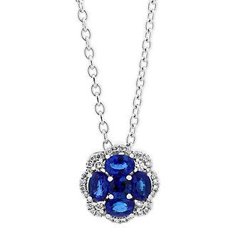 """14k white gold sapphire & diamond flower pendant, 18"""""""