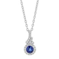 "14k_white_gold_sapphire_pendant_with_diamond_halo_&_bezel,_18"""