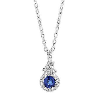 "14k white gold sapphire pendant with diamond halo & bezel, 18"""