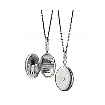 Monica Rich Kosann Infinity White Sapphire Locket in Sterling Silver