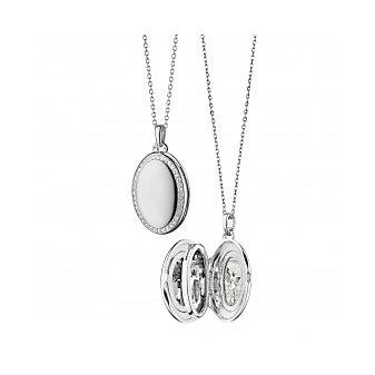 """Monica Rich Kosann Sterling Silver & White Sapphire 4 Image Locket, 32"""""""