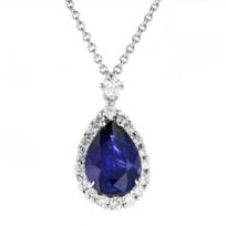 "18k_white_gold_pear_shaped_sapphire_&_diamond_halo_pendant,_16"""