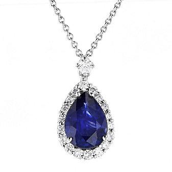 "18k white gold pear shaped sapphire & diamond halo pendant, 16"""