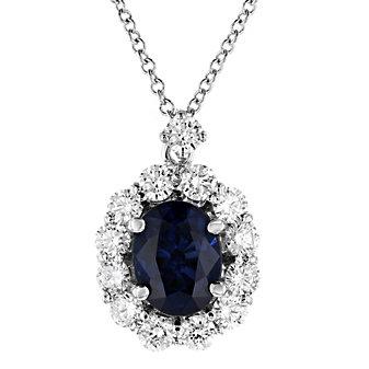 "18k white gold oval sapphire & diamond halo pendant, 16"""