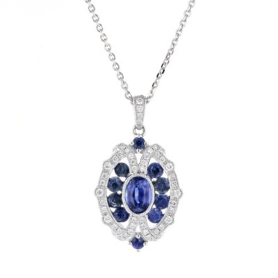 14k white gold sapphire and diamond milgrain ornamental pendant, 18""