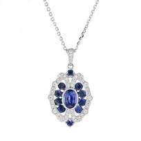 "14k_white_gold_sapphire_and_diamond_milgrain_ornamental_pendant,_18"""