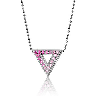 alex woo sterling silver pink sapphire little elements inverted triangle pendant, 16""