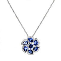 14k_white_gold_pear_shaped_&_round_sapphire_&_diamond_flower_pendant,_18""