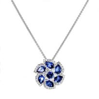 "14k_white_gold_pear_shaped_&_round_sapphire_&_diamond_flower_pendant,_18"""
