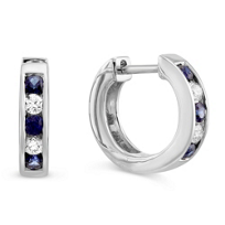 14K_White_Gold_Channel_Set_Round_Sapphire_and_Round_Diamond_Hoop_Earrings