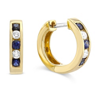 14K_Yellow_Gold_Channel_Set_Round_Sapphire_and_Round_Diamond_Hoop_Earrings