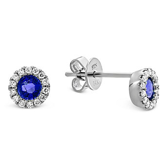 14K White Gold Round Sapphire and Round Diamond Earrings