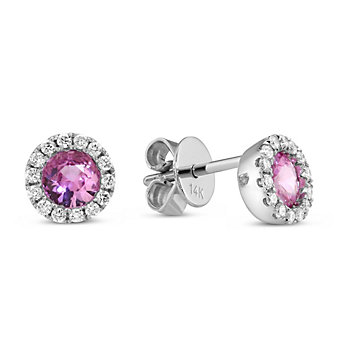 14K White Gold Round Pink Sapphire and Round Diamond Earrings