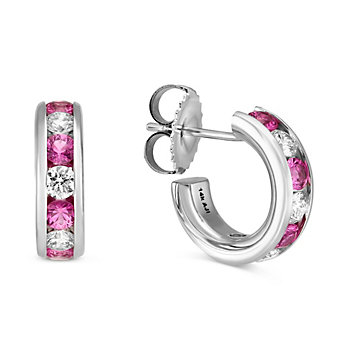 14K White Gold Channel Set Round Pink Sapphire and Round Diamond Hoop Earrings