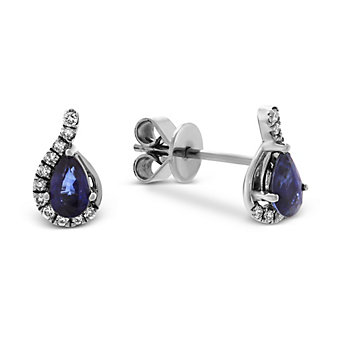 14K White Gold Pear Shape Sapphire and Round Diamond Earrings