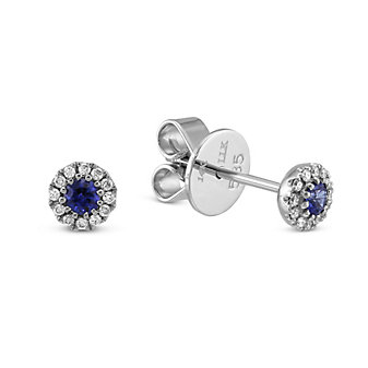 14K White Gold Round Sapphire and Round Diamond Halo Earrings