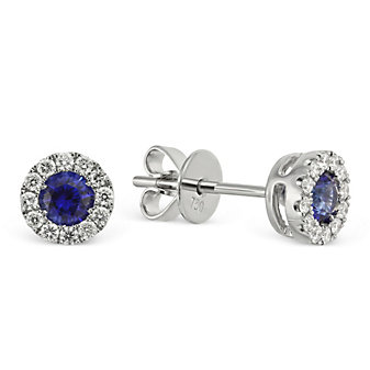 18K White Gold Round Sapphire and Round Diamond Earrings