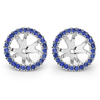 18K White Gold Round Sapphire Earring Jackets
