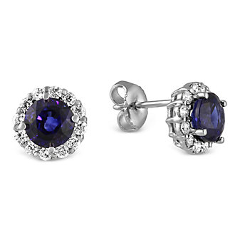 18K White Gold Round Sapphire and Round Diamond Halo Earrings
