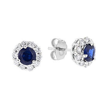 18k white gold round sapphire & diamond halo stud earrings